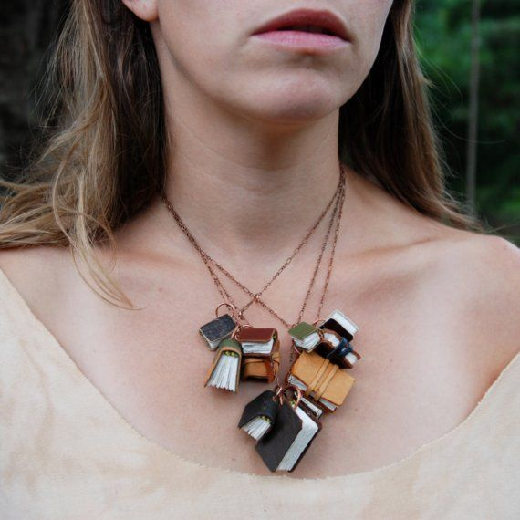 magicMiniatures, Minis Book, Book Lovers, Libraries Book, Book Necklaces, Chains, Leather, Black, Antiques
