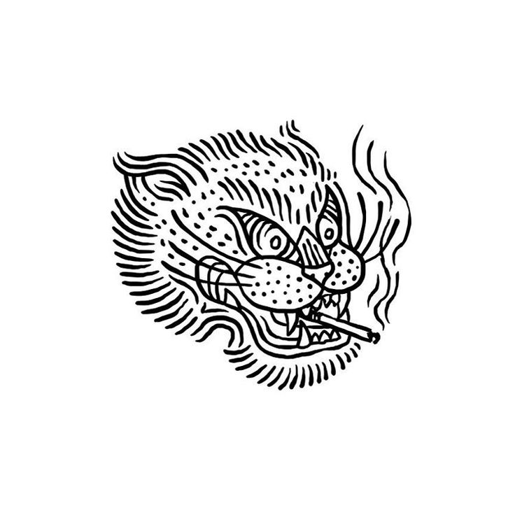 #tiger #illustration #design #tattoo #tigertattoo #smoke #cigarette #tobacco…