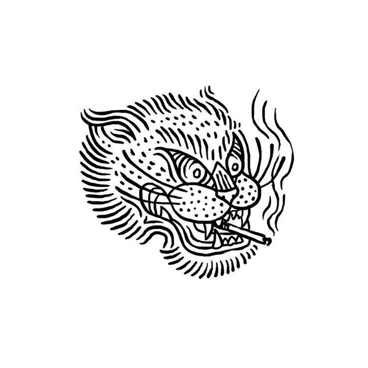 #tiger #illustration #design #tattoo #tigertattoo #smoke #cigarette #tobacco…