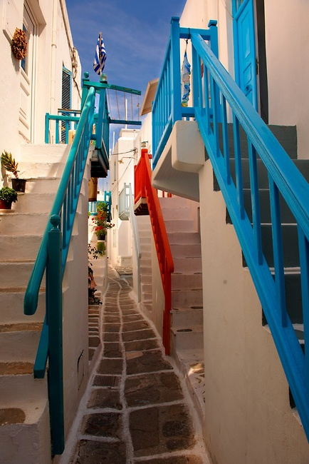The narrow lanes with colourful houses of Mykonos Chora, Cyclades Island, Greece**.