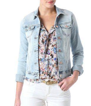 Veste en jean délavé femme