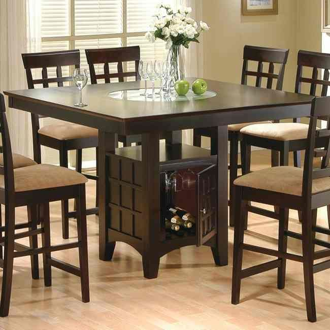 Ashton Counter Height Dining Set Features: Rich Cappuccino Finish Storage  Base Frosted Glass Built In Lazy Susan Lattice Back Stools Table X X Bar  Stool X X Part 96