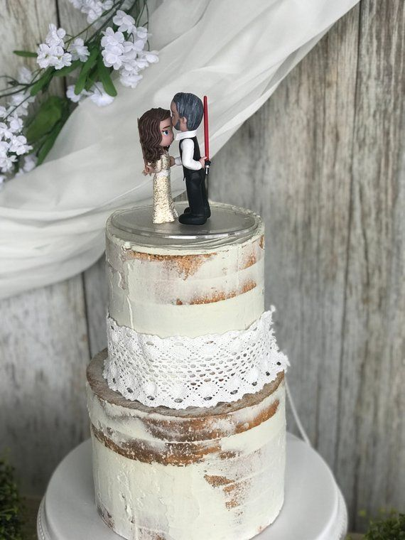 Custom Bride Holding Harry Potter Wand And Groom Holding Lightsaber Wedding Cake Harry Potter Wedding Cakes Wedding Cake Topper Figurines Wedding Cake Toppers