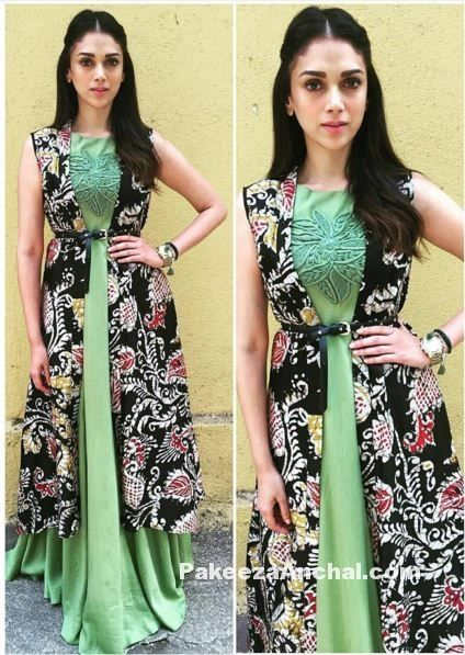 Aditi Rao Hydari in Green Sleeveless Long Dress with Long Prtined Jacket-PakeezaAnchal.com