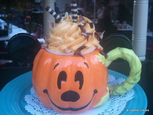 Pumpkin spice latte at Disneyland. I don't like coffee but the mug is so cute, and you get to keep it!. Dining in Disneyland: Pumpkin Treats Crawl | the disney food blog