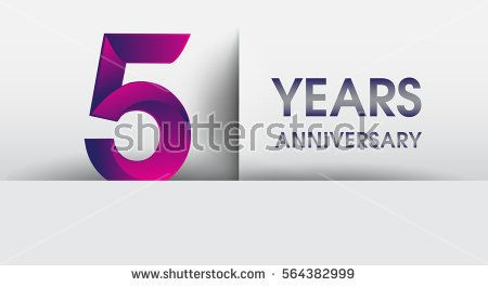 five years Anniversary celebration logo, flat design isolated on white background, vector elements for banner, invitation card for 5th birthday party