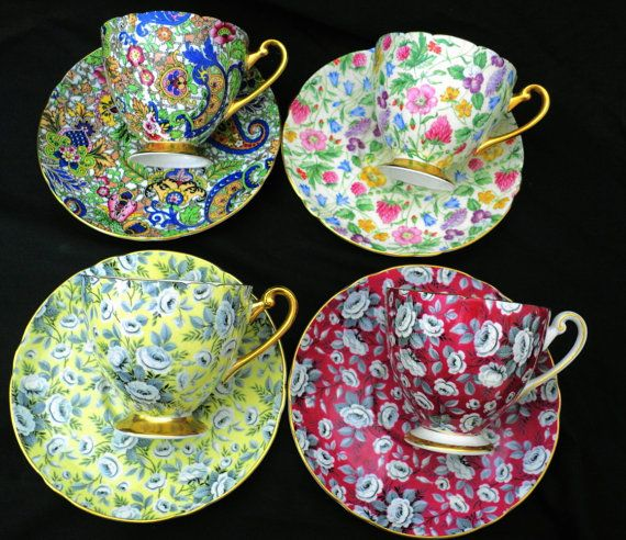 Set of 4 Shelley art deco brilliant chintz by simplytclubhouse