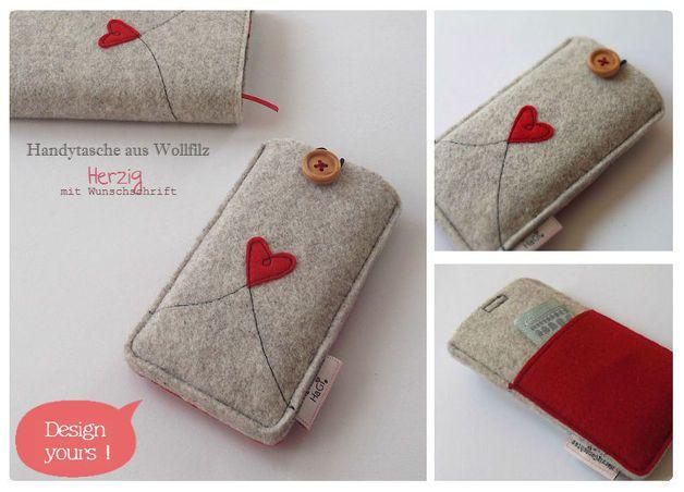 Handytaschen - Smartphonetasche Filz Herzig Iphonetasche - ein Designerstück von herziggenaehtes bei DaWanda