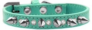 """Your Pup will be the talk of the dog park with these Punk Rock Collection Dog Collars. 1/2"""" wide collar made with a durable leather like vinyl and bedazzled with crystal studs and silver spikes fasten"""