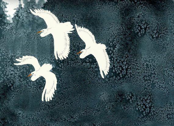 White herons flying on the bog - Art print of an original illustration by Daré Dof Illustrations #italiasmartteam #etsy