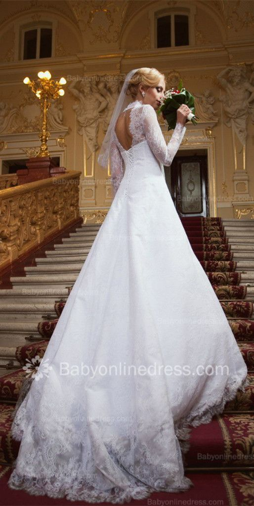 Royal Lace V Neck Bridal Gowns 2015 Long Sleeve Court