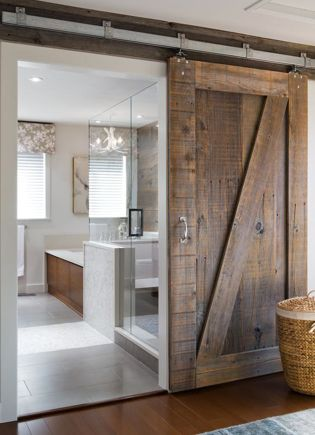 Our plan for our master bathroom door.  Get rid of the double door & replace w/ barn slider.