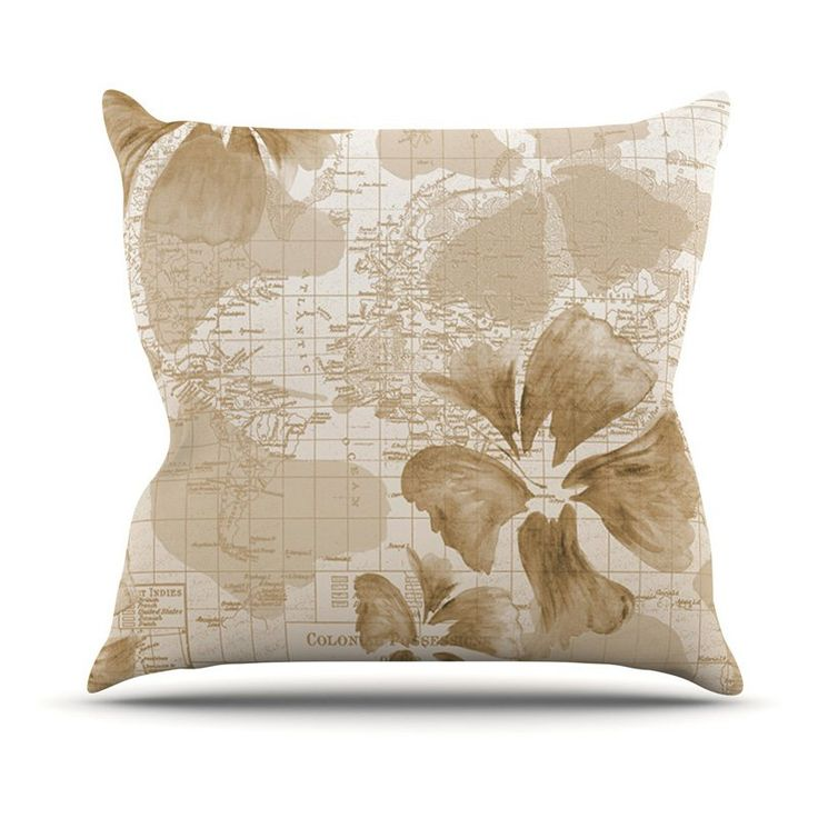 Kess InHouse Catherine Holcombe Flower Power Map Outdoor Throw Pillow Tan - CH1037AOP04