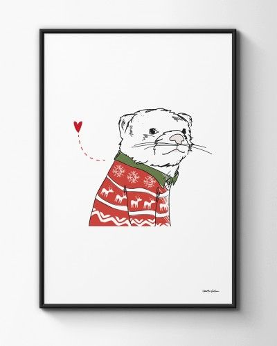 """Chillin´ Polecat Poster A3. Part of the """"Humming in Winter Woodland"""" collection by Christina Heitmann. #polecat #chill #chillin #ferret #winter #christmas #fun  #cute #illustration #illustrations #children #kids #childrensroom #interior #decor #nordicdesign #humming"""