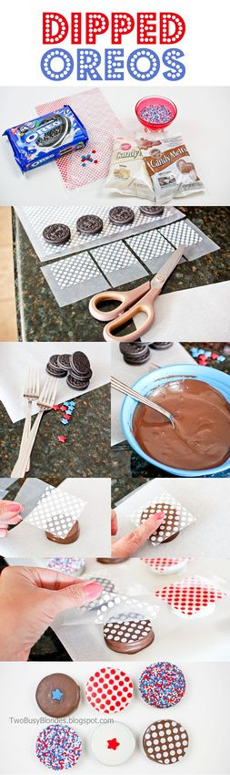 Decorating ideas for dipped Oreos. This one shows 4th of July but the concept works for any holiday.