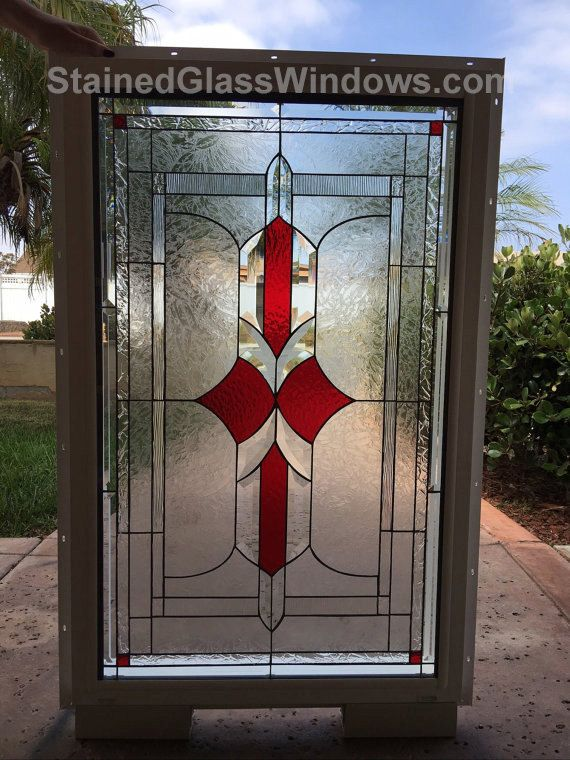 This  Lovely Clear Beveled Victorian Stained Glass Window Panel is 18 width x 26 high and can be custom made to any size or colors you need for your specific project.    Did you know most stained glass panels on the Internet are made in China with a lower quality Chinese made stained glass? You can count on this panel is made with the highest quality stained glass (USA made Spectrum Stained Glass TM) and a very high grade lead/tin mixture we use for binding our panels together.  You are ...