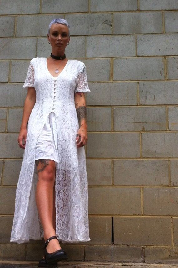 White Lace Button Up Gateway Dress Pagan Hippy By