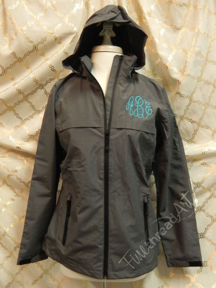 Monogram Rain Coat Jacket Slicker for Ladies Zip Up with Hood Plus Size available by finethreadart on Etsy https://www.etsy.com/listing/249397043/monogram-rain-coat-jacket-slicker-for