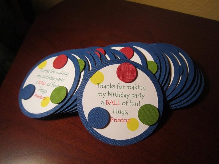 Ball Themed Birthday Favor Tags. $12.00, via Etsy.