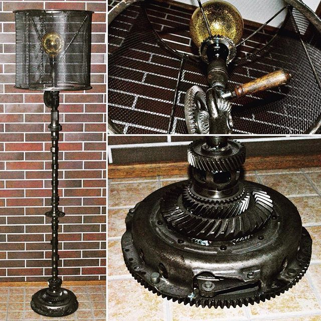 https://www.facebook.com/groups/gearworkshop/ #GearWorkshop #steampunk #floor_lamp #gear_lamp #drill #motorlamp #handmade #loft