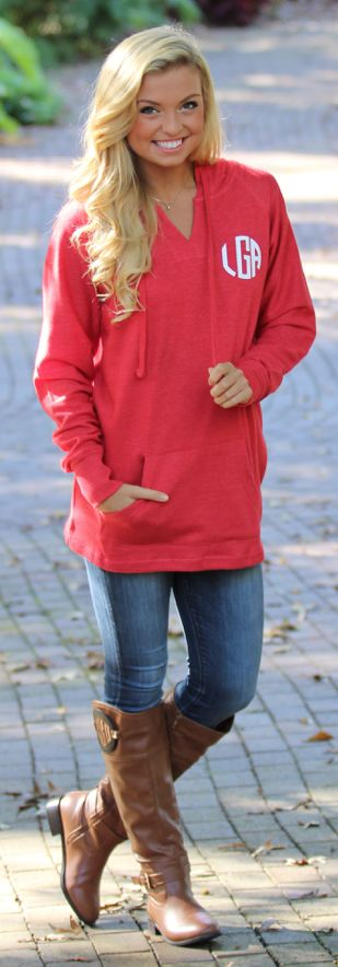 Monogrammed Hooded Sweatshirt Tunic Available in 5 Colors! Perfect for fall! #outfitgoals https://www.marleylilly.com