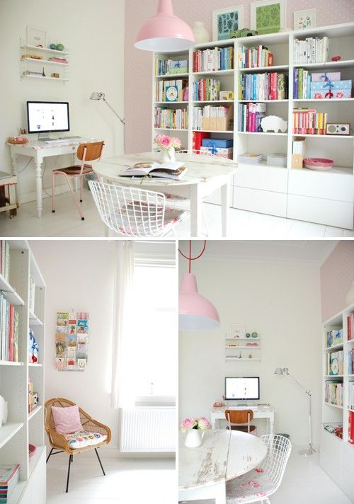 love the colors: Idea, White Spaces, Crafts Rooms, Color, Offices Spaces, Pastel Pink, Work Spaces, Girls Rooms, Home Offices