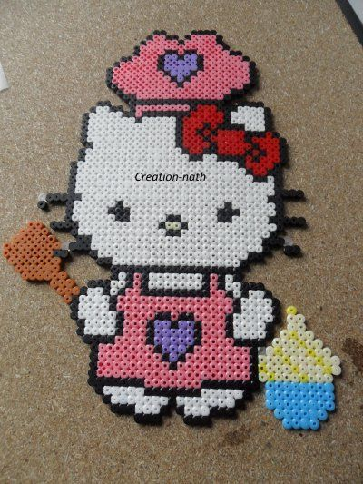 Hello Kitty Cuisine Chef Hama Beads By Creation Nath
