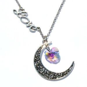 Halskette Mondsichel mit Love und Glasherz rosa/lila1Stk