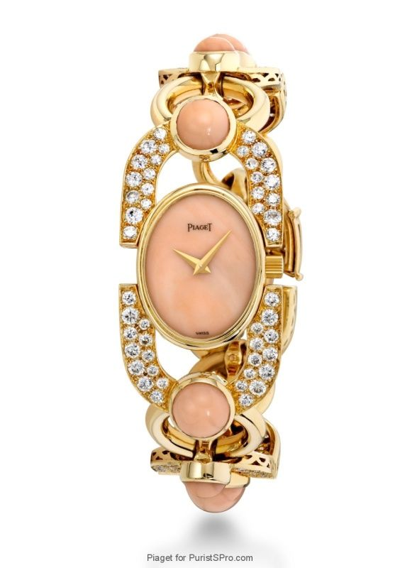 Piaget Jewelry watch with coral and diamonds (caliber 4P).