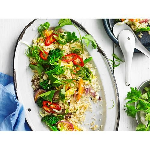 Cauliflower 'fried rice' recipe - By Australian Women's Weekly, Ditch the carbs and opt for this delicious paleo version of 'fried rice'. We've used the versatile cauliflower to create a super healthy and deliciously satisfying dish.