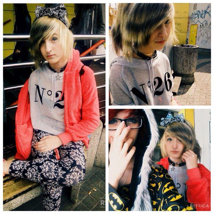 Scene girl lazy outfit  Headband : Italian shop T-shirt ; ? Legins : family Choker : ebay Sweatshirt : asian shop   ChibiMikuXx