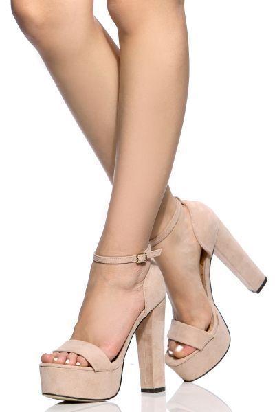 f36e41dbc1466 Nude Faux Suede Ankle Strap Chunky Platform Heels  shoeshighheels ...