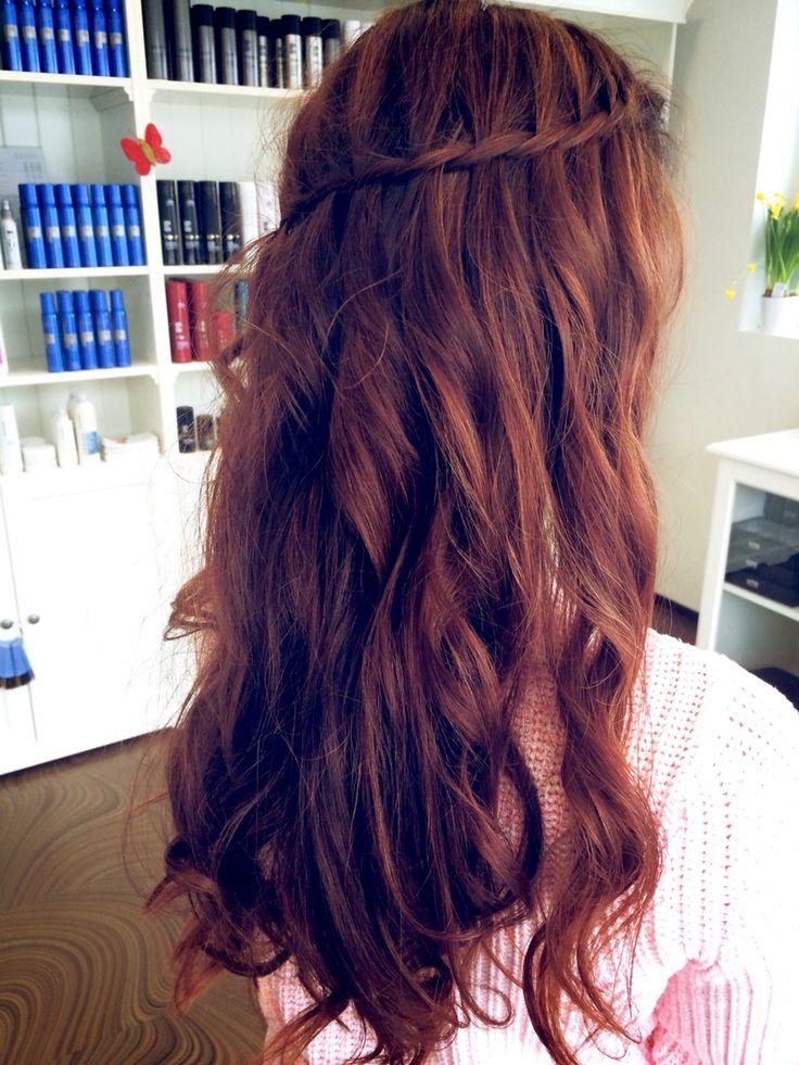 Auburn long hair waterfall braid
