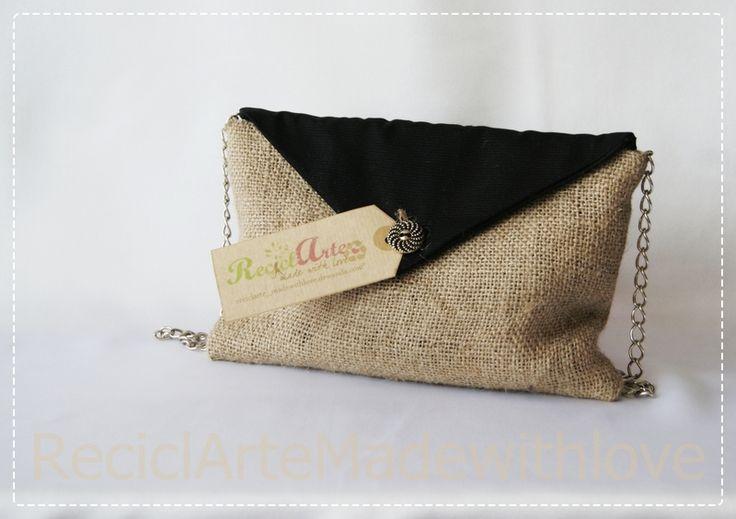 Bolso en tela de saco von reciclarte made with love auf - Manualidades con tela de saco ...