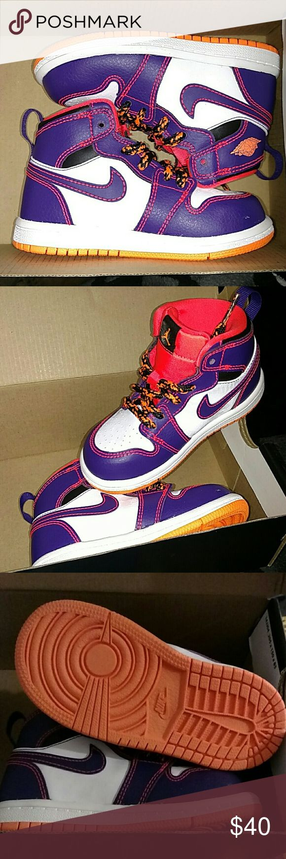 Toddler Jordans size 7 Brand new! In box NEVER WORN! Purple and Orange Toddler size 7. Jordan Shoes Sneakers