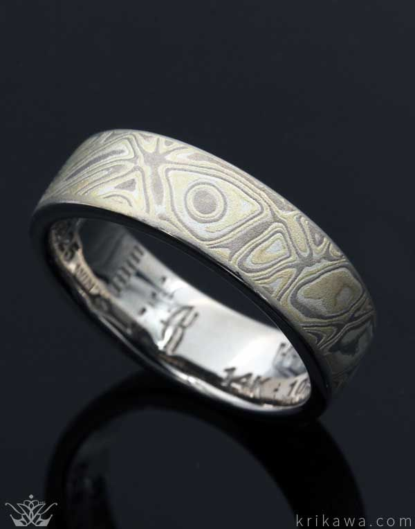Winter Mokume Gane Wedding Band This Unique Mokume Combines 14 Karat Palladium Whi Mens Wedding Bands White Gold White Gold Wedding Bands Palladium White Gold
