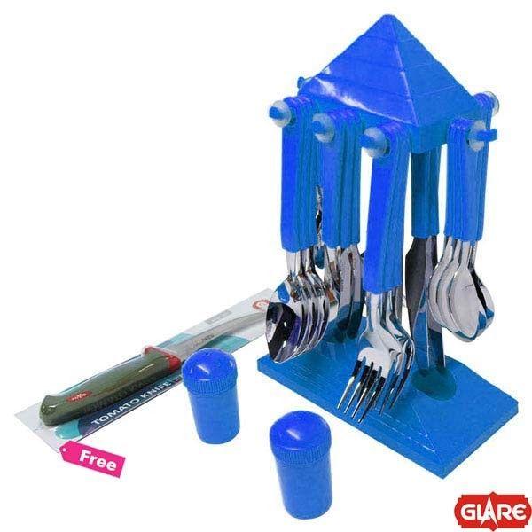 Glare 24 Pcs Cutlery Set Pyramid, Blue