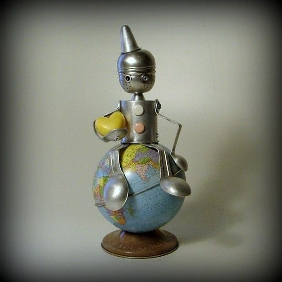 vintage globe robot sculpture  Your Love has put Me by leuckit