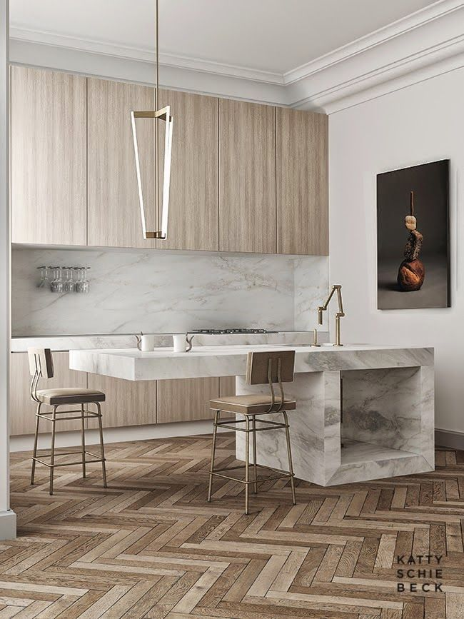 Cantilevered island//marble//parquet floor//brass. Homes to Inspire | Katty Schiebeck's Passeig de Gràcia 3D Rendering.