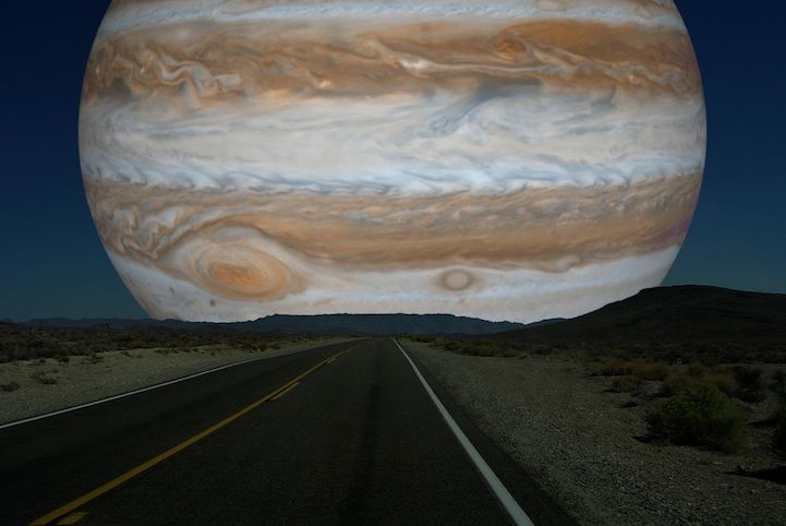 How Jupiter would look if it were as close as the Moon. via My Modern Met, attributed to Ron Miller.