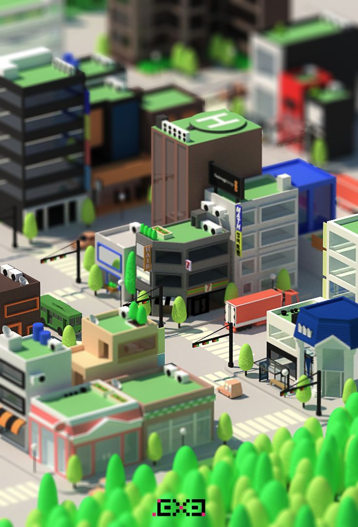 Isometric Korea City on Behance