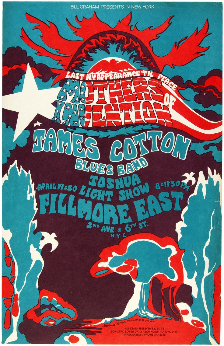 Hake's - BILL GRAHAM FILLMORE EAST CONCERT POSTER FEATURING MOTHERS OF INVENTION.