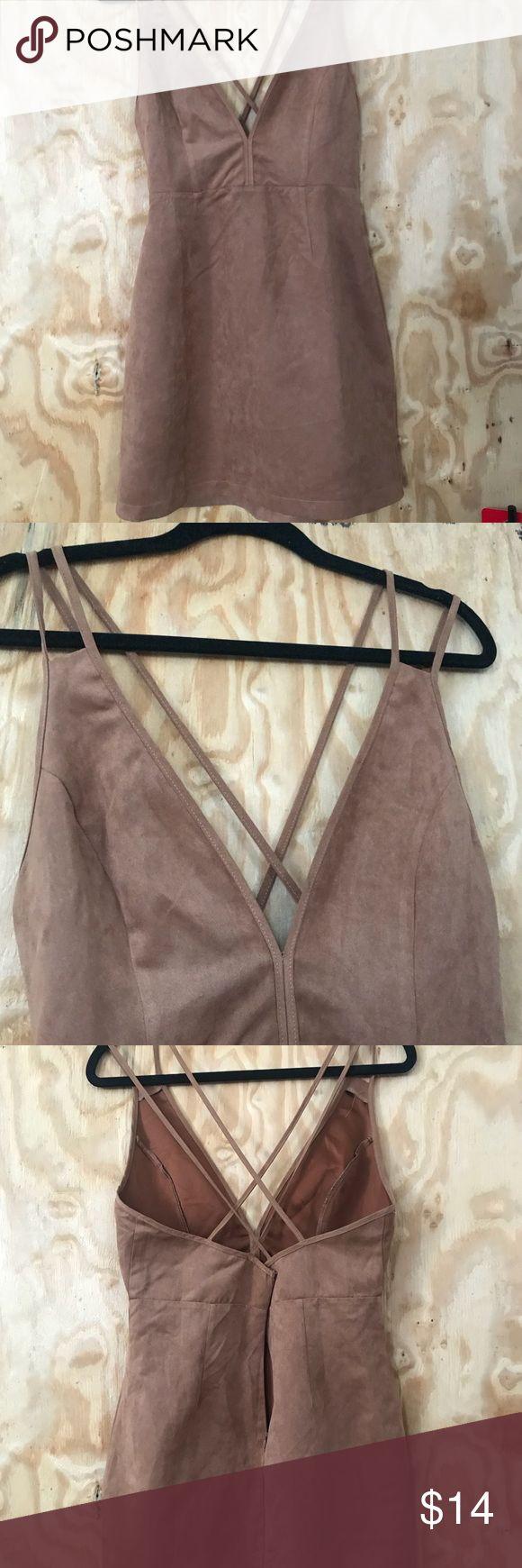 Brown strappy mini dress Camel brown suede mini dress v neck strappy w zipper detail Dresses Mini