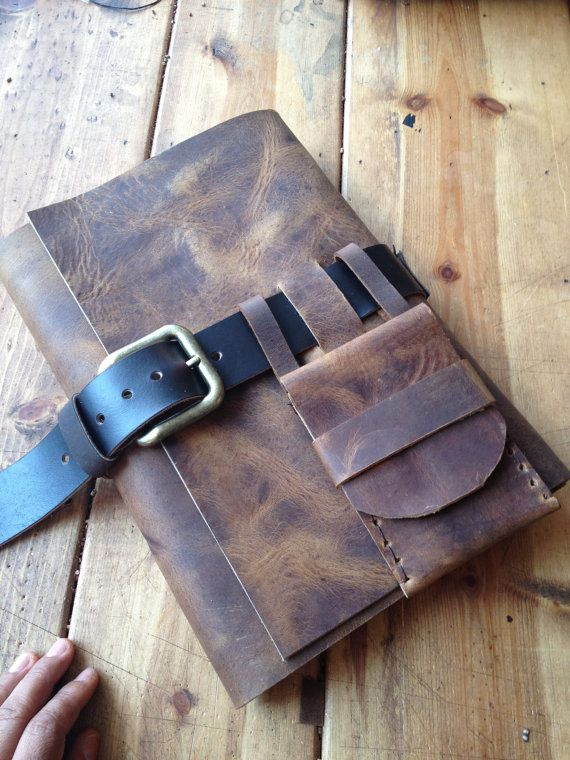 Large leather journal buckle closure - rugged leather hand sewn journal with small pen pouch. For more handmade refillable leather journals,