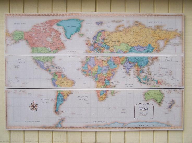 Large World Map. Wall Decor. Nursery decor.Huge wall decor 48 x 32. $225.00, via Etsy.