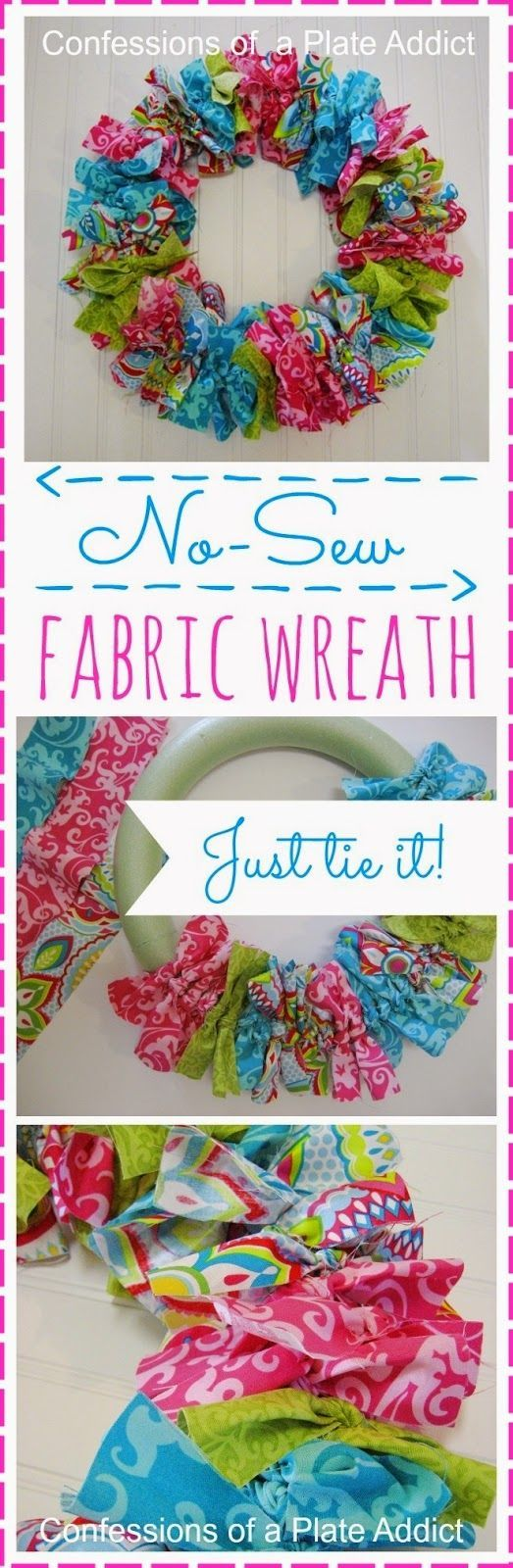 How to Make an Easy No-Sew Fabric Wreath                                                                                                                                                                                 More