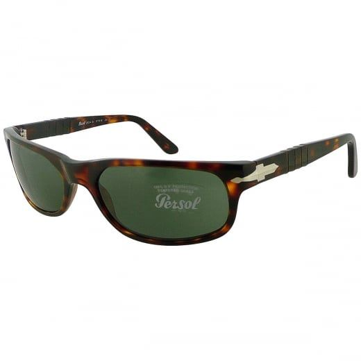 Persol Havana Wrap Sunglasses With Meflecto Flexi Stem And Green Crystal Lenses. Model Number: 2604-S 24 31. The havana wrap frame is a classic choice with enduring appeal.