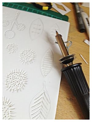 Dudley Redhead: stamp making with a woodburning pen and craft foam (not plugging it in, of cause. My sis has a woodburning pen with various points, might be fun to try?)