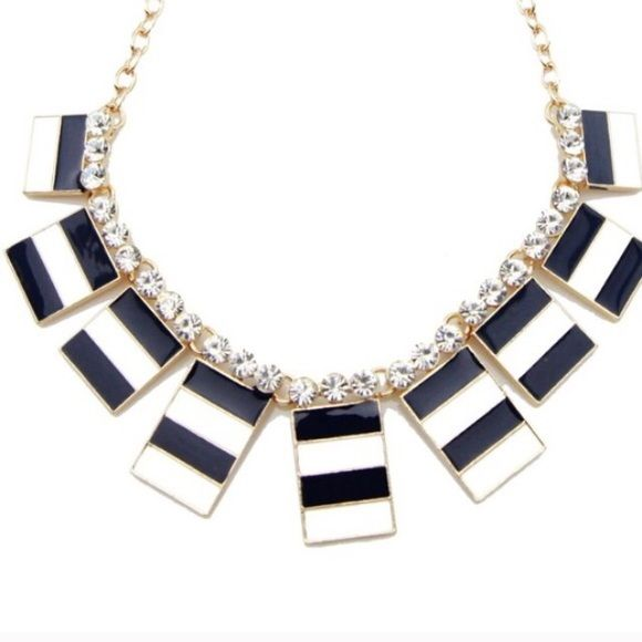 Nautical Stripe Necklace Striking Nautical Stripe Necklace!!  18k white gold plated base metals, glass crystals, nickel & lead free. T&J Designs Jewelry Necklaces