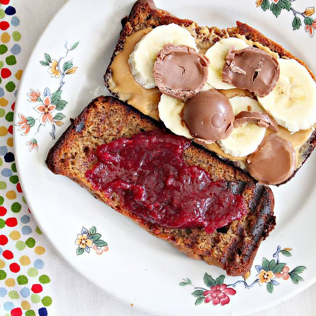Banana Split Sandwich on Peanut Butter Banana Bread via @Joanne Bruno